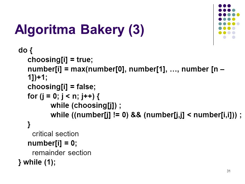 Algoritma Bakery (3) do { choosing[i] = true;